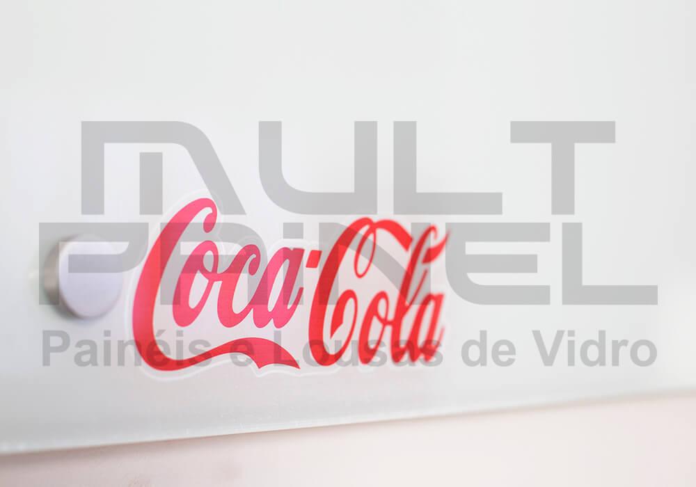 Lousa de vidro com logotipo
